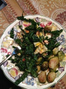 Crunchy Kale Salad (with egg & brussel sprouts)