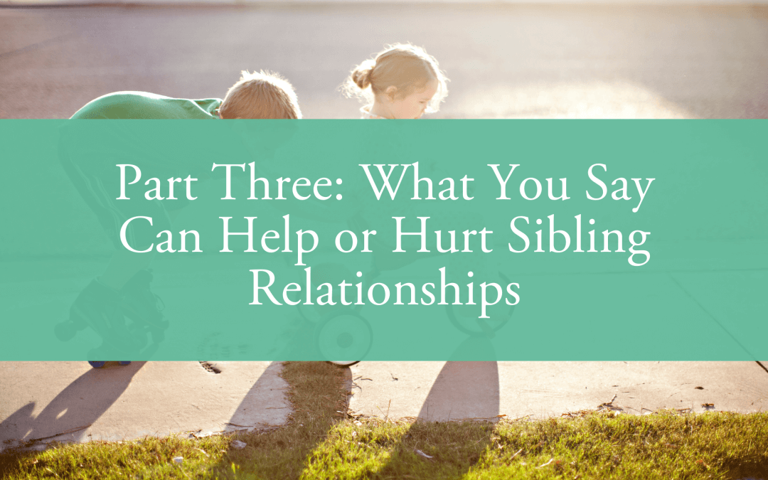 Part Three: What You Say Can Help or Hurt Sibling Relationships