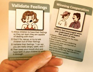 Susan held up these two cards - Validating Feelings was where she experienced the most growth